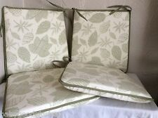 "A SHAPE DINING CHAIR SEAT PADS SET OF 4 SHABBY CHIC MODERN FLORAL SAGE 15""x15"""