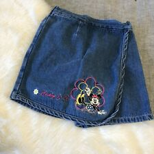 Mickey & co. Vintage Minnie Mouse Embroidered jean skort Little Girls Size 6 6T