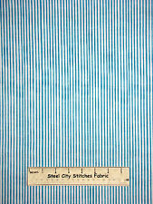 Loralie Harris Designs Basics Lazy Stripe Turquoise Cotton Fabric 691-838-B YARD