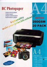 Photo Paper Premium Matte A4 260gsm White Pk 20