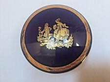 Limoges 3 Footed Cobalt & Gold Trinket Box With Lid Marriage Proposal France