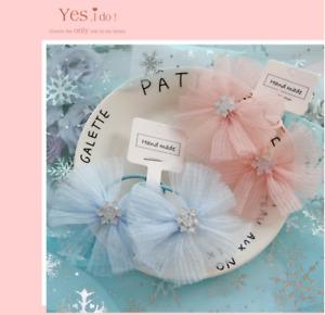 2PCS Baby Girls kids Soft Snowflake Flower Bobbles Hair Clip Bows Clips Ponios