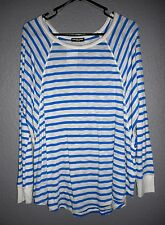 Cha Cha Vente Blue & White striped soft knit tunic, Women's XL, Made in USA NwT!