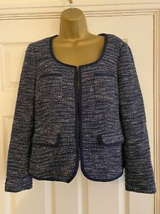 Banana Republic Women's Fitted Jacket - Navy Blue - Size 8