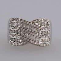 1.04 Carat Diamond Crossover Ring 18ct White Gold Size N 1/2