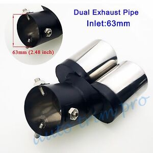 63mm 2.48 inch Inlet Dual Outlet Universal Tail Exhaust Rear Muffler Tip Pipe