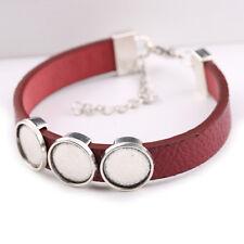 5pcs cuff leather bracelet cabochon base setting 12mm dia blank bracelets bangle