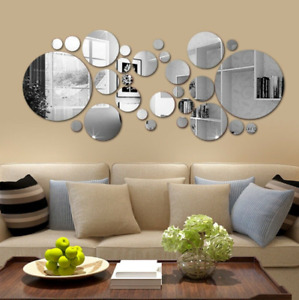 3D DIY Removable Mirror Round Wall Sticker Decal Home Living Room Art Decor