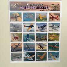 US Uncut Classic American Aircraft Sheet Artist Signed Twice Framed Twenty $.32