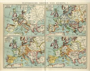 1909 HISTORY of EUROPE I GERMANY RUSSIA FRANCE AUSTRIA POLAND Antique Map dated