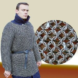 Chain mail 9 mm Round Riveted Hubergion Full Sleeve Large Size Shirt