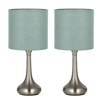 HAITRAL Table Desk Lamps Unique Modern Nightstand Set of 2-Fabric Shade-Green