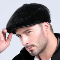 New Genuine Winter Men Fur Ivy  Hat Cap Headgear Beanie Beret Cabbie Earmuff Hot