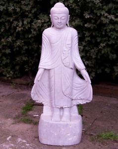 Marble Buddha statue from Burma, Newly hand carved from 1 block of white marble