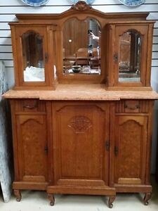 Antique French Oak Cabinet Sideboard Glass Top w Mirror H74'' X W53'' X D25''