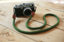 E Style green 10.5mm Climbing rope brown leather handmade Camera neck strap SLR