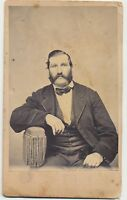 1860s Civil War Tax Stamp CDV Rugged Gentleman With Muttonchops Beard Antique
