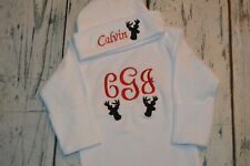 PERSONALIZED Baby Boy Deer Baby Sleeper Gown and Hat Monogrammed Newborn Set