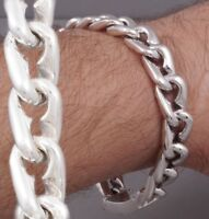 """HEAVY TRIBAL CURB LINKS CHAIN MENS BRACELET 925 STERLING SOLID SILVER 8 - 10"""""""