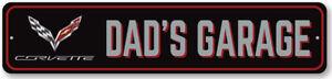 Corvette Dad's Garage Sign Personalized Aluminum Chevrolet Man Cave Wall Decor