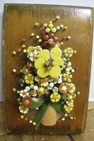 VINTAGE POL-O-CRAFT NAIL FLOWER ART 1977 PAULINE OWENS HOME DECOR WALL SCULPTURE