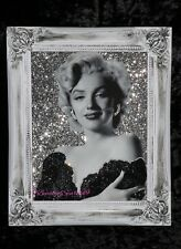 Marilyn Monroe Silver Glitter Canvas Picture Shabby Chic frame , Wall Art.