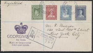 1938 Newfoundland #245-248 Royal Family FDC, Crown Cachet, Registered St John's