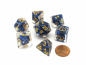 Pearl Resin 16mm 7-Die Polyhedral Dice Set - Royal Blue with Gold Numbers