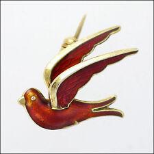 Norwegian Silver Enamel Small Bird Brooch - HROAR PRYDZ