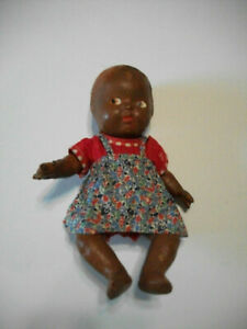 """Antique 12"""" Black composition baby doll painted face jointed Unmarked 1920-30's"""