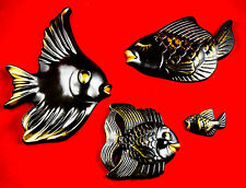 MIDCENTURY BLACK/GOLD HAPPY FISH FAMILY- FUN WALL CHALKWARE