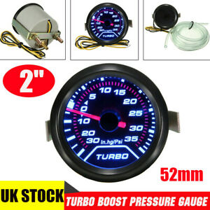 2'' 52mm Turbo Boost Pressure PSI Pointer Gauge Meter Smoked Dials 30Psi Pob LED