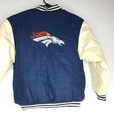 Denver Broncos Leather Wool Letterman Jacket Youth Size M Puma NFL Blue Orange
