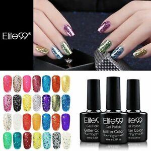 Elite99 Glitter Gel Nail Polish Manicure UV LED Diamond Lacquer Top Base Coat