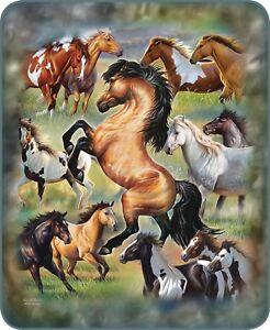 Queen Horse Horses Collage JQ Equestrian Mink Faux Fur Blanket Warm Soft Full