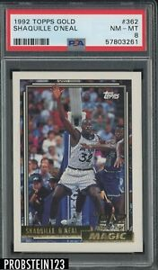1992 Topps Gold #362 Shaquille O'Neal Magic RC Rookie HOF PSA 8 NM-MT