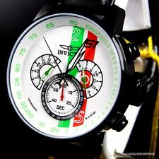 Men Invicta S1 Rally Racing White Green Red Black Leather Chronograph Watch New