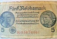 5 Reichmarks  -Reich Bank Note - Swastika Nazi Reich