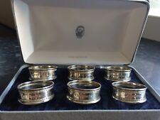 Ari D Norman. Original Boxed Set of Six Solid Silver Napkin Rings. London 1990