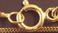 """14k Solid Yellow Gold Italian 0.85 mm Square Wheat Chain Necklace 16"""", 20"""", 22""""."""