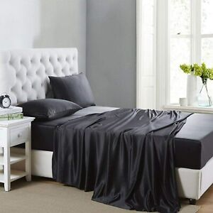 Silk Satin Sheets, 4-Piece Queen Size Satin Bed Sheet Set with Deep Pockets, Coo