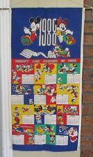 Vintage 1988 Walt Disney Cloth Fabric Calendar - Mickey And Friends