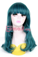 50cm Long Teal green Wave girls women synthetic Anime Cosplay Wig ML194+A cap