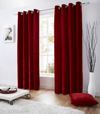 VENICE RED DEEP PILE VELVET 58X54 RING TOP FULLY LINED CURTAINS #TEVLEV *AS*
