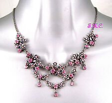 Debenhams Vintage Deco Pink Nouveau Floral Flower Necklace W/ Swarovski Crystals