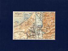 Antique matted map : Bregenz Vorarlberg Austria 1923 / karte plan mappa