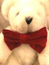 """VERMONT WHITE 15"""" TEDDY BEAR PLUSH - BLUE EYES &  RED VELVET BOW - USA MADE"""