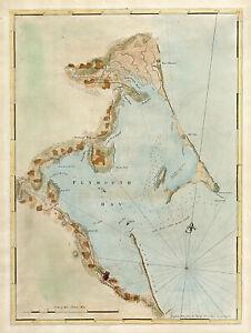1770 Map Coastal Nautical Chart of Plymouth Bay Massachusetts Wall Art Poster