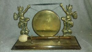 Vintage Quirky 1950s Lucky Pixies Brass Table Dinner Gong Devon Cornwall England