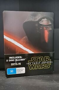 STAR WARS THE FORCE AWAKENS Blu Ray STEELBOOK 2 DISC EDITION RARE LIKE NEW R4
